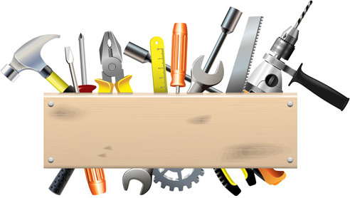 hardware_tools_with_wood_boards_background_vector_544668